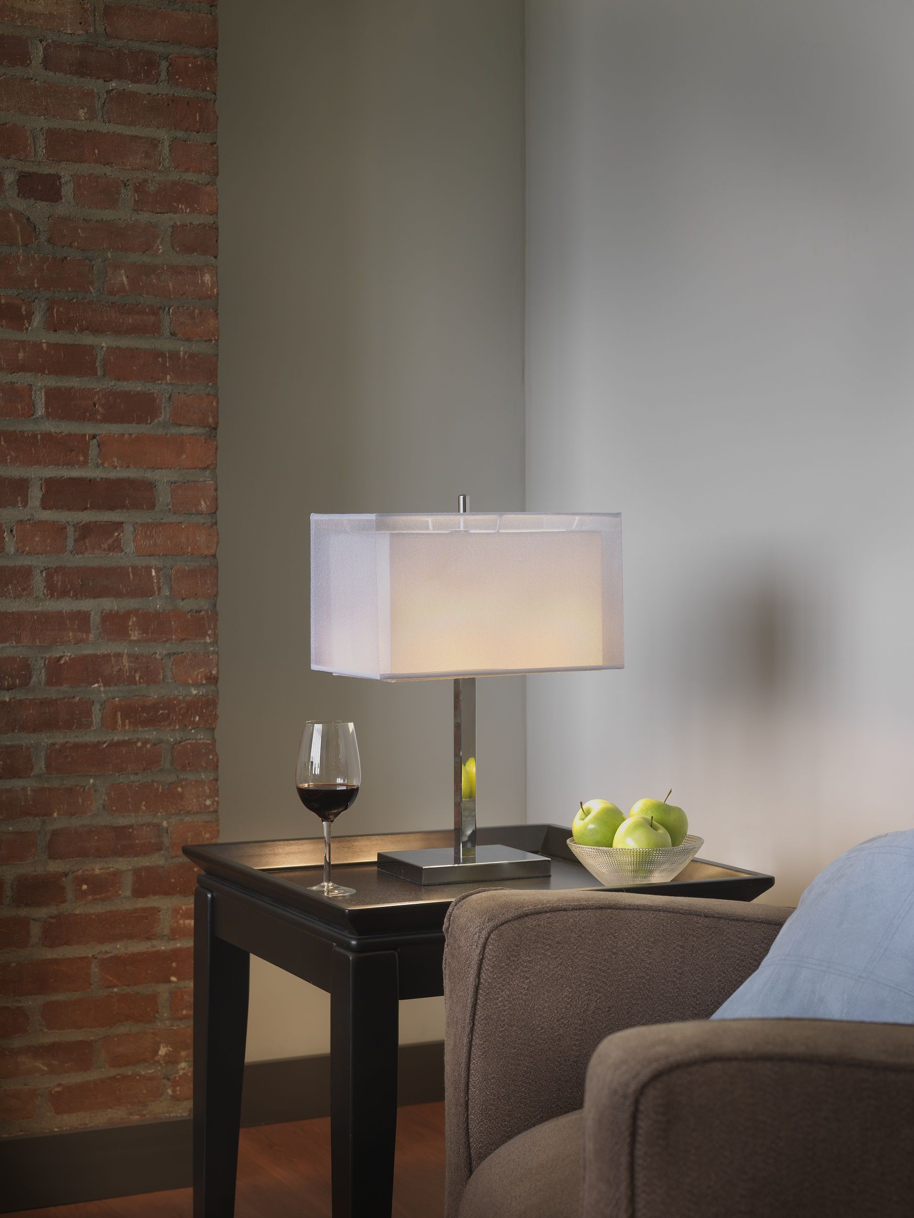 Sharper image table lamp white rectangle organza shade w chrome base si100013 189 00 available at selected retailers