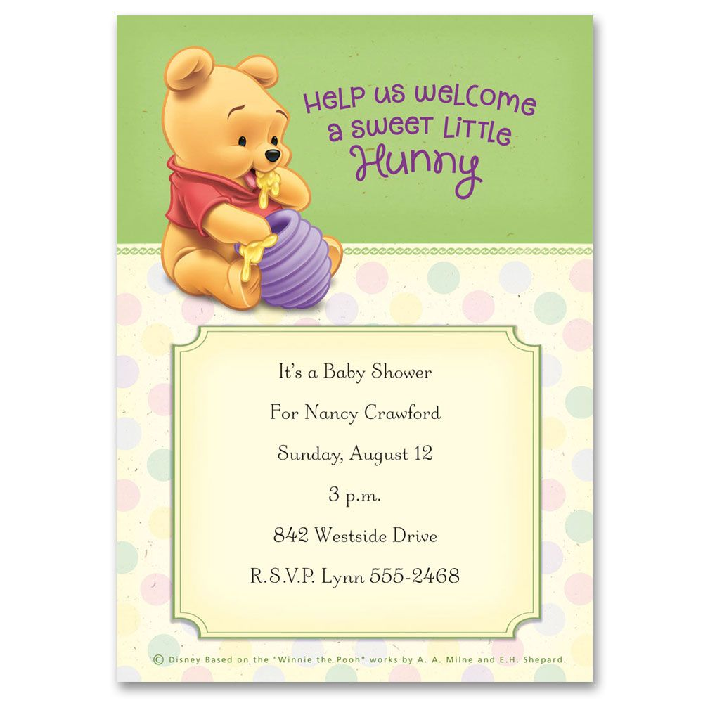 winnie the pooh sweet little hunny baby shower invitation | disney, Wedding invitations