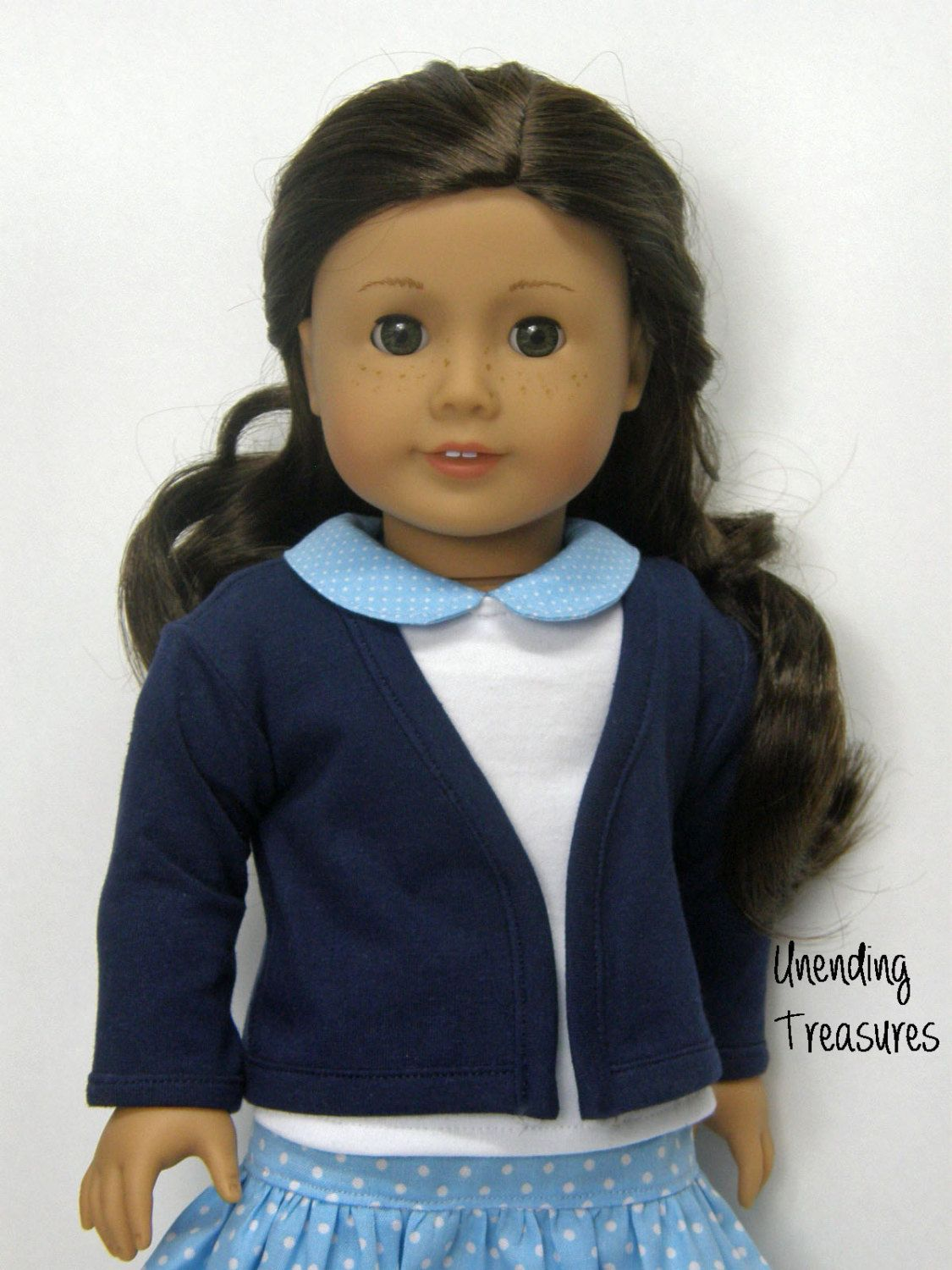 navy cardigan sweater, 18 inch doll clothes, AG doll clothes girl, doll clothes AG doll cardigan sweater by Unendingtreasures on Etsy