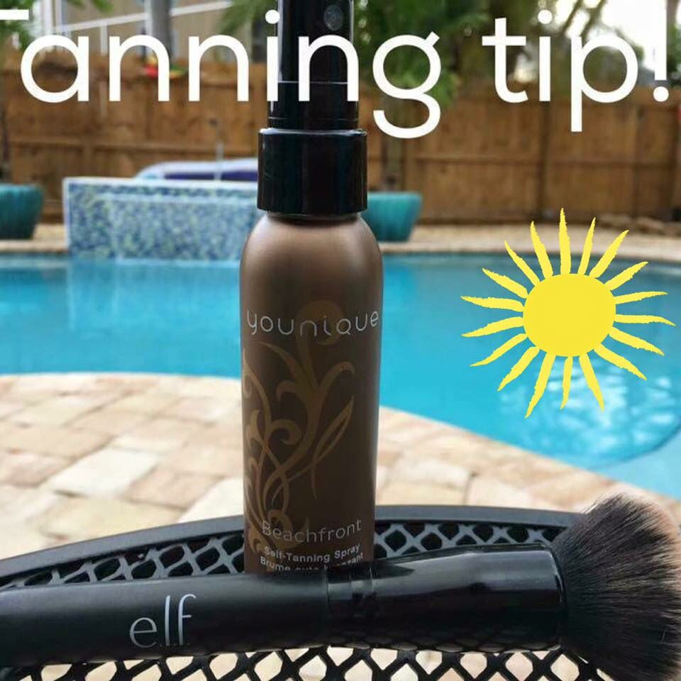 Applying self tanner with makeup brush