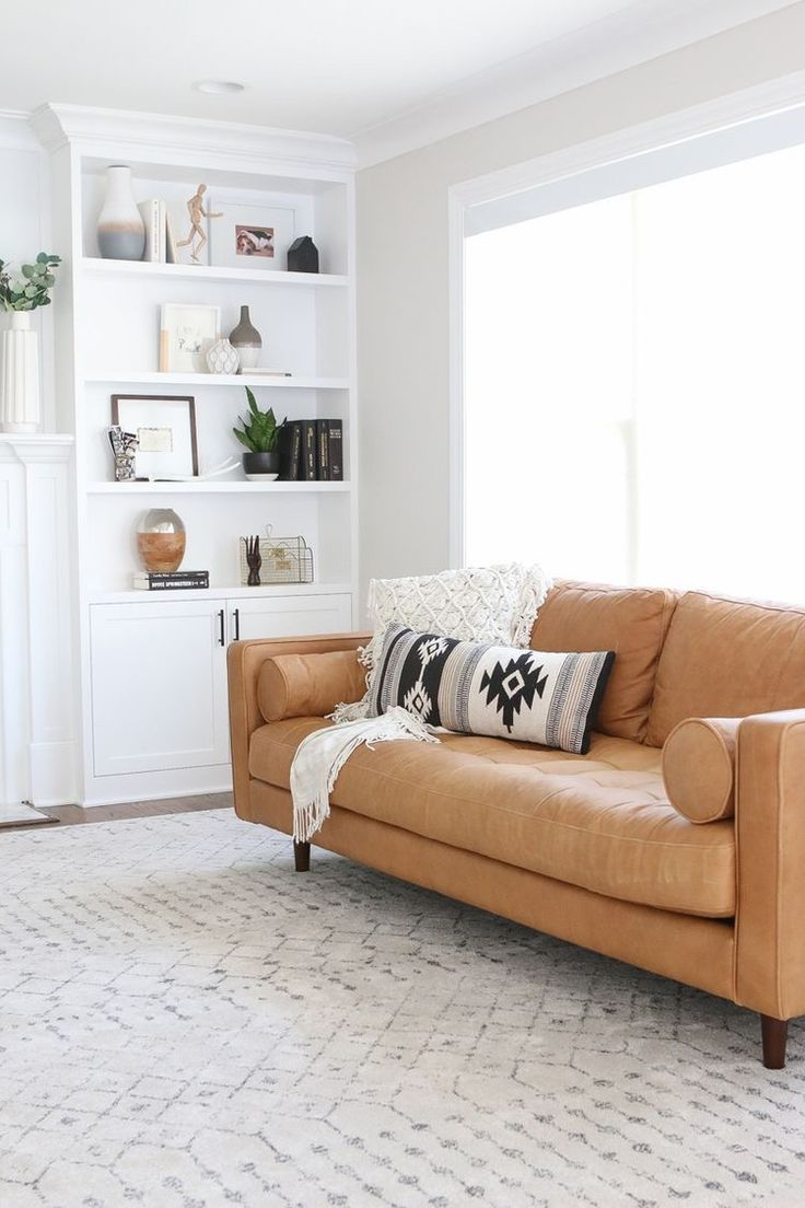 cosy scandi style living room with warm tan couch | Living-rooms ...