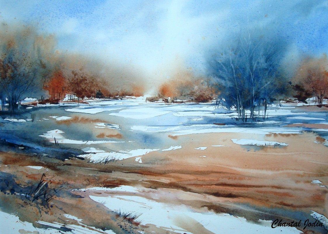 Watercolor Landscape Scenery Chantal Jodin Avec Images