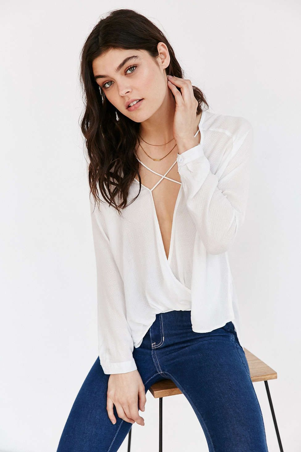 Silence + Noise Mayfair Plunge Surplice Top - Urban Outfitters