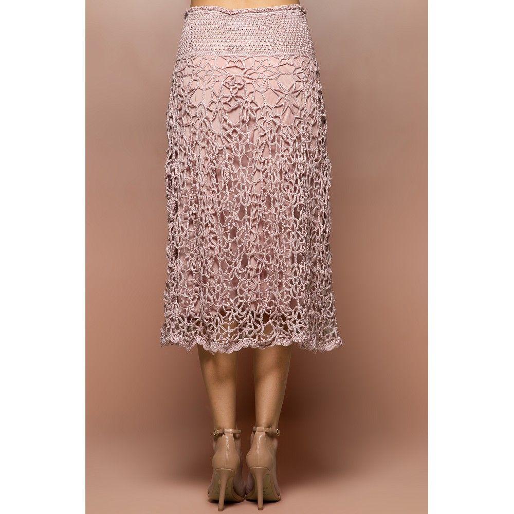 US$ 2,840.00 - Pearl Velvet Crochet Midi Skirt - Vanessa Montoro ...