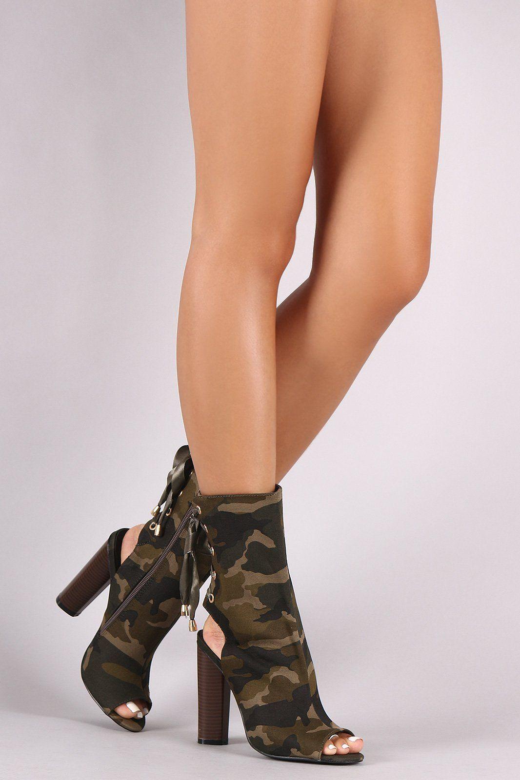 Camouflage Back Lace-Up Chunky Heeled Peep Toe Boots  9b299da060e3