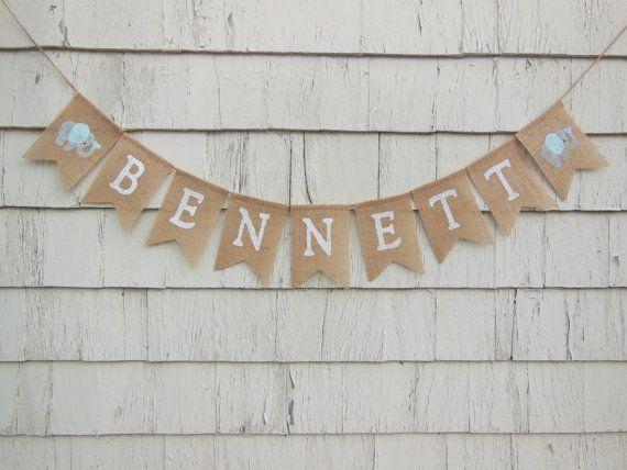 custom personalized name banner elephant nursery decor elephant