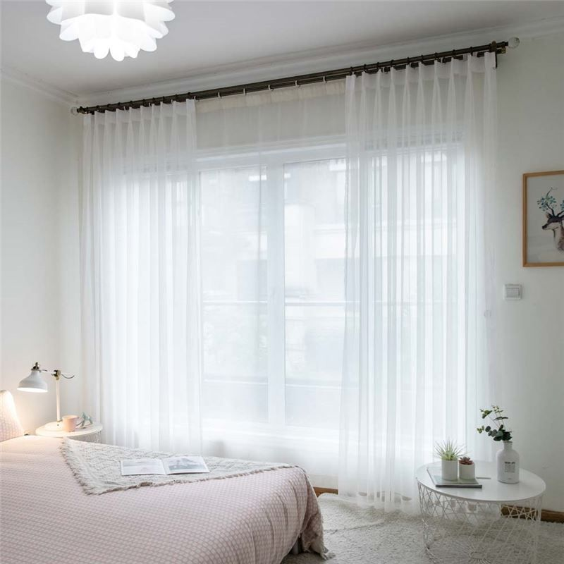 White Breathable Sheer Curtain Modern Simple Sheer Curtain Living