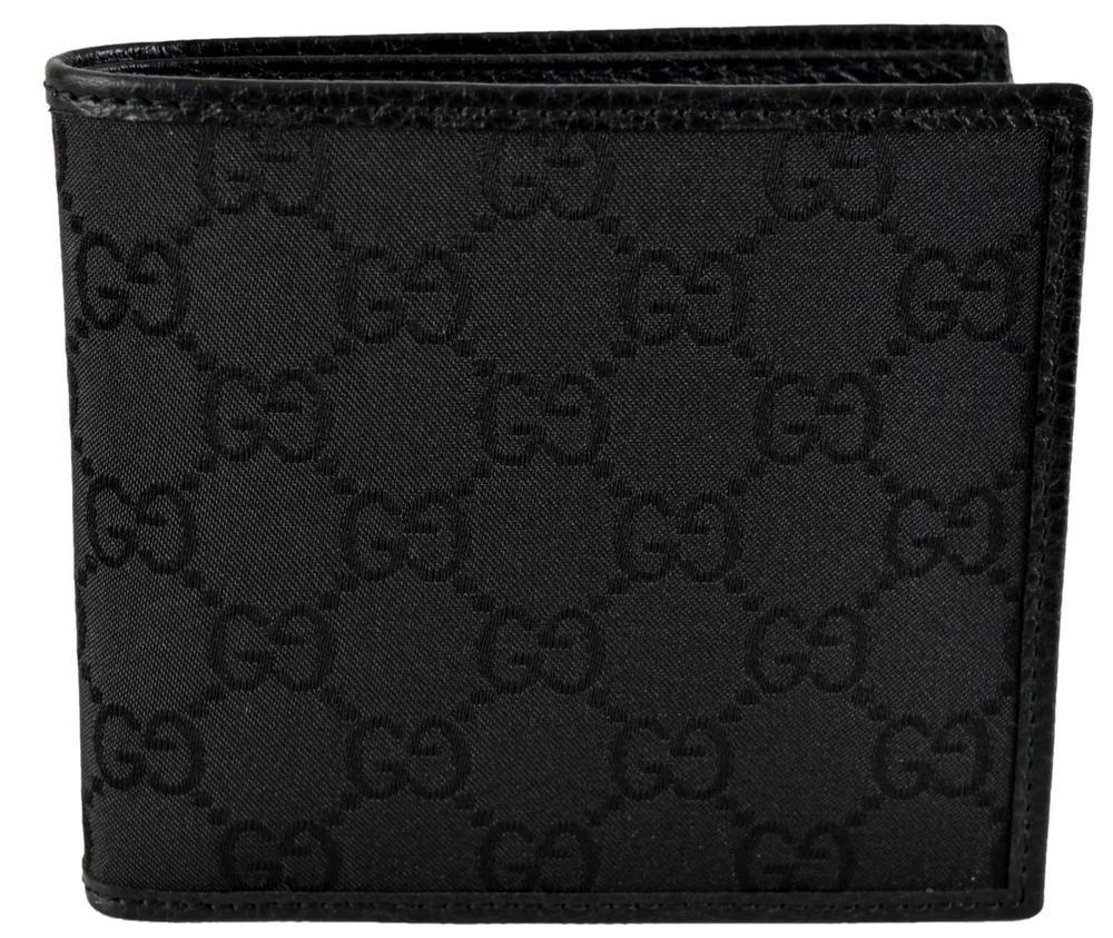 d584b2827c4ce1 New Gucci 143383 Men's Black Canvas GG Guccissima Short Bifold Wallet #Gucci  #Bifold