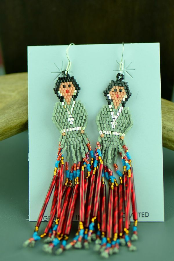Sandra Parkett Sterling Silver Beaded Navajo Girl Earrings ...