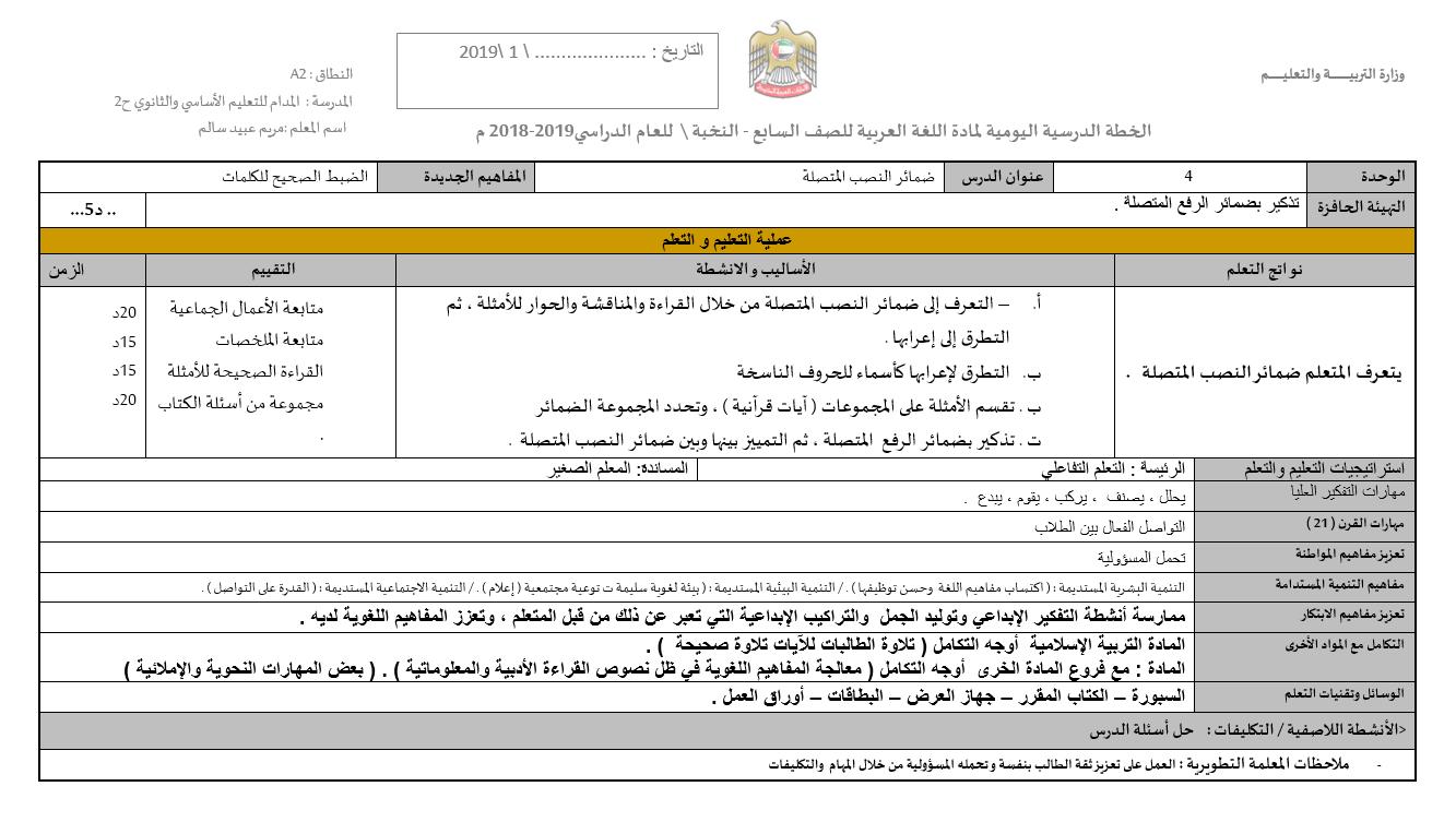 ضمائر النصب المتصلة الخطة الدرسية اليومية الصف السابع مادة اللغة العربية Ili 10 Things