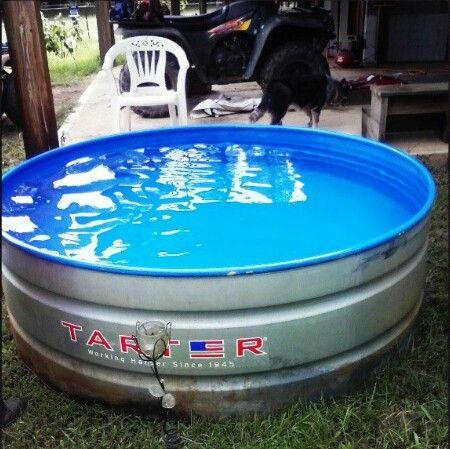 Water trough pool watertroughpool redneckswimmingpool for Galvanized water trough swimming pool