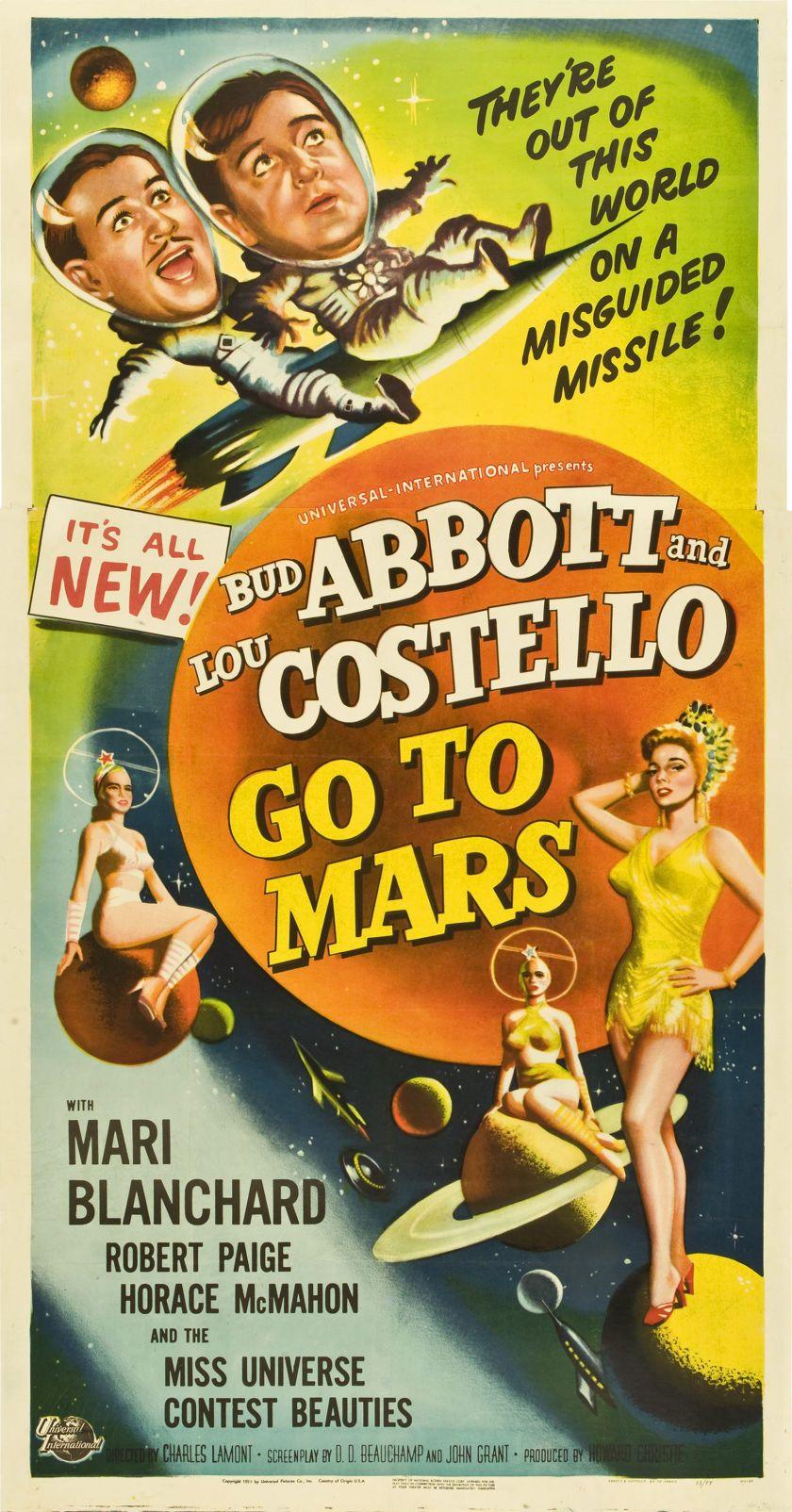 Abbott And Costello Go To Mars 1953 Three Sheet Poster Abbott