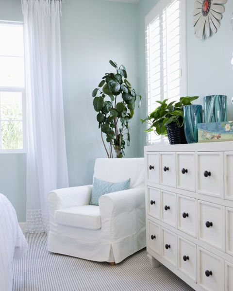 """Skip the bright red accent wall and choose colors that have a soothing effect like greens, grays and, especially, blues. A 2013  study from the hotel chain Travelodge found that people who slept in a blue room slept the longest: a dreamy 7 hours and 52 minutes!  Ready to DIY? Opt for a paint that has no or low VOCs (volatile organic compounds, which get released into the air and can cause headaches and dizziness). """"You sleep for roughly a third of your day and may spend even more time in…"""