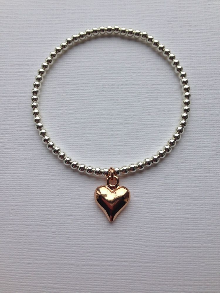 Rose Gold Heart On Silver Plated Beaded Bracelet Stretch Handmade    eBay