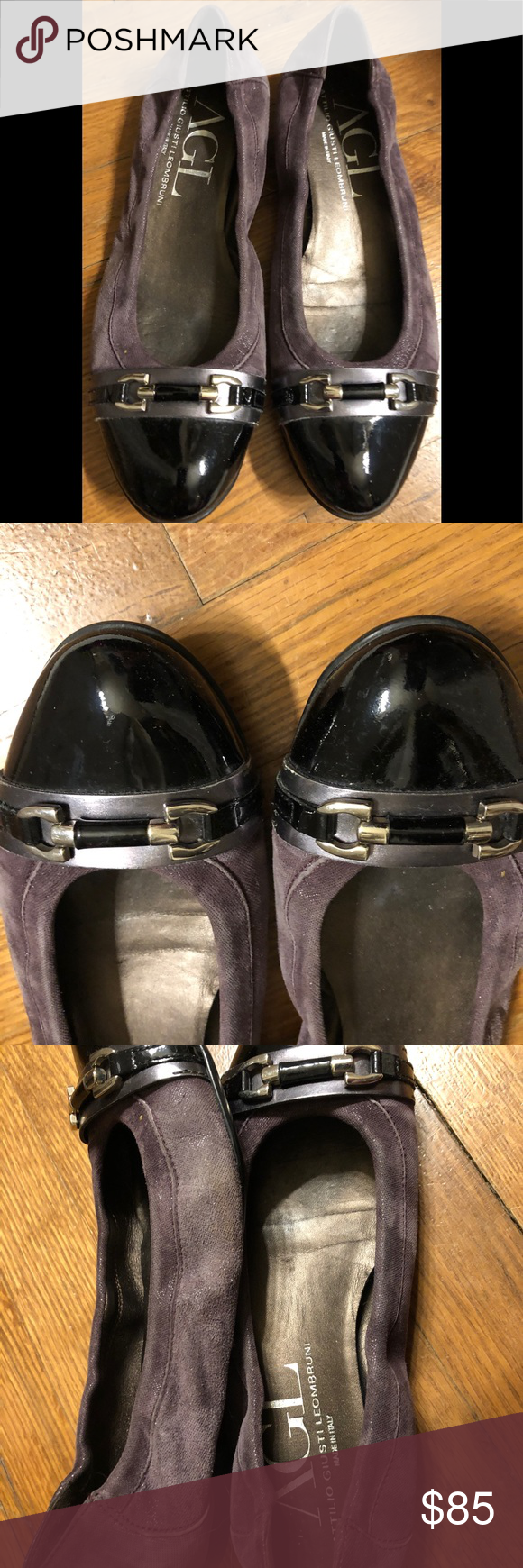 b86be1b5e Attilio Giusti Leombruni AGL Ballet Flats Shoes 10 Beautiful flats by AGL  leather with purple suede on the sides with a black patent leather tips.