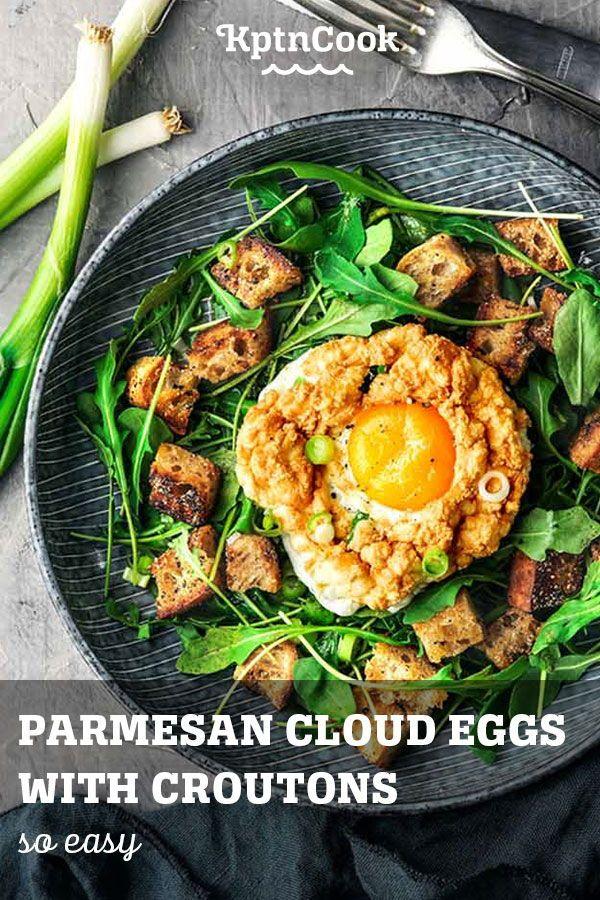 Parmesan Cloud Eggs with Croutons