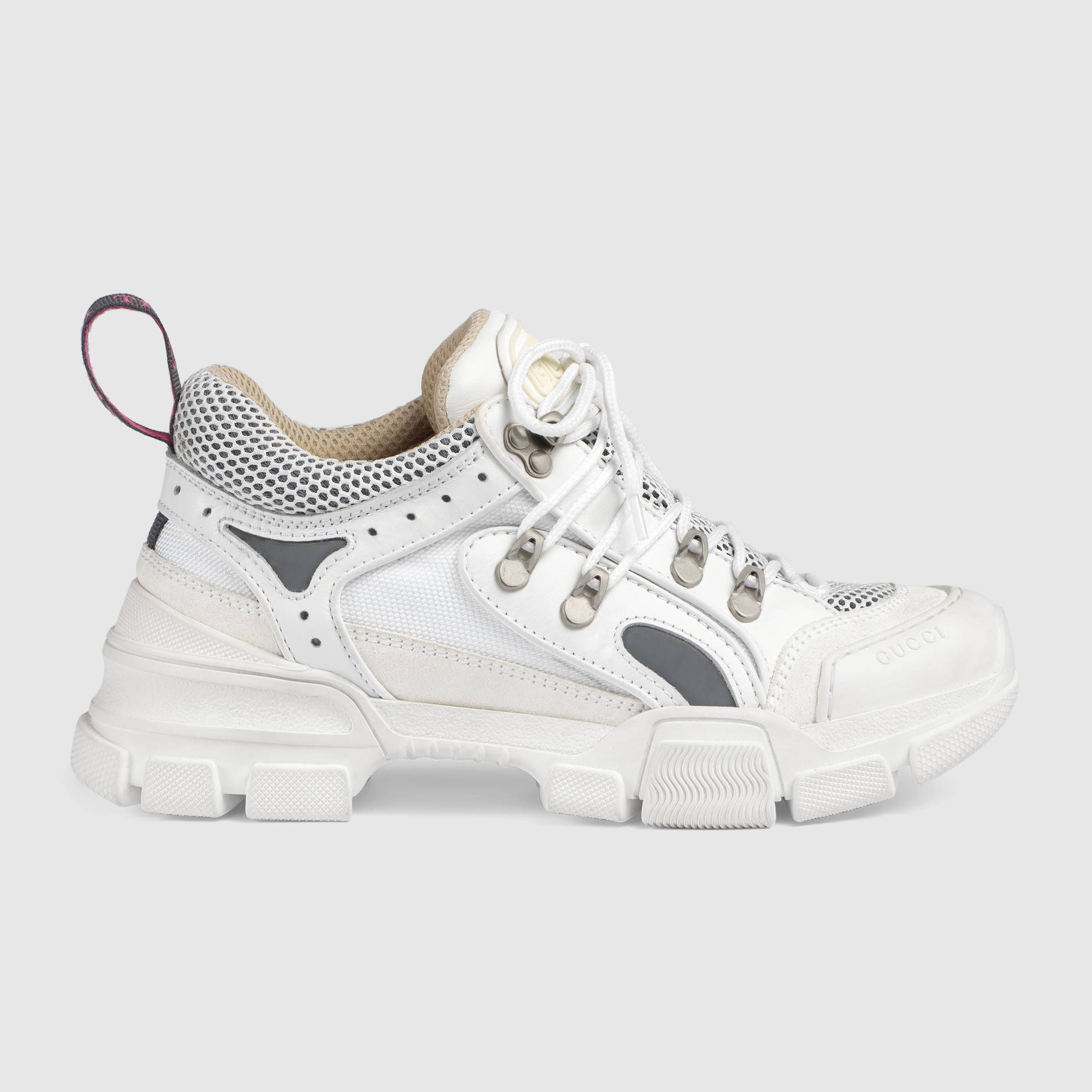 1b23554b4 Flashtrek sneaker with removable crystals in White leather, white suede and  white technical canvas | Gucci Women's Sneakers