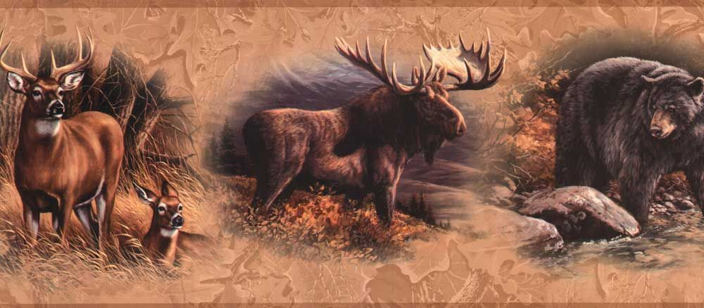 North American Animal Wallpaper Border Golden North