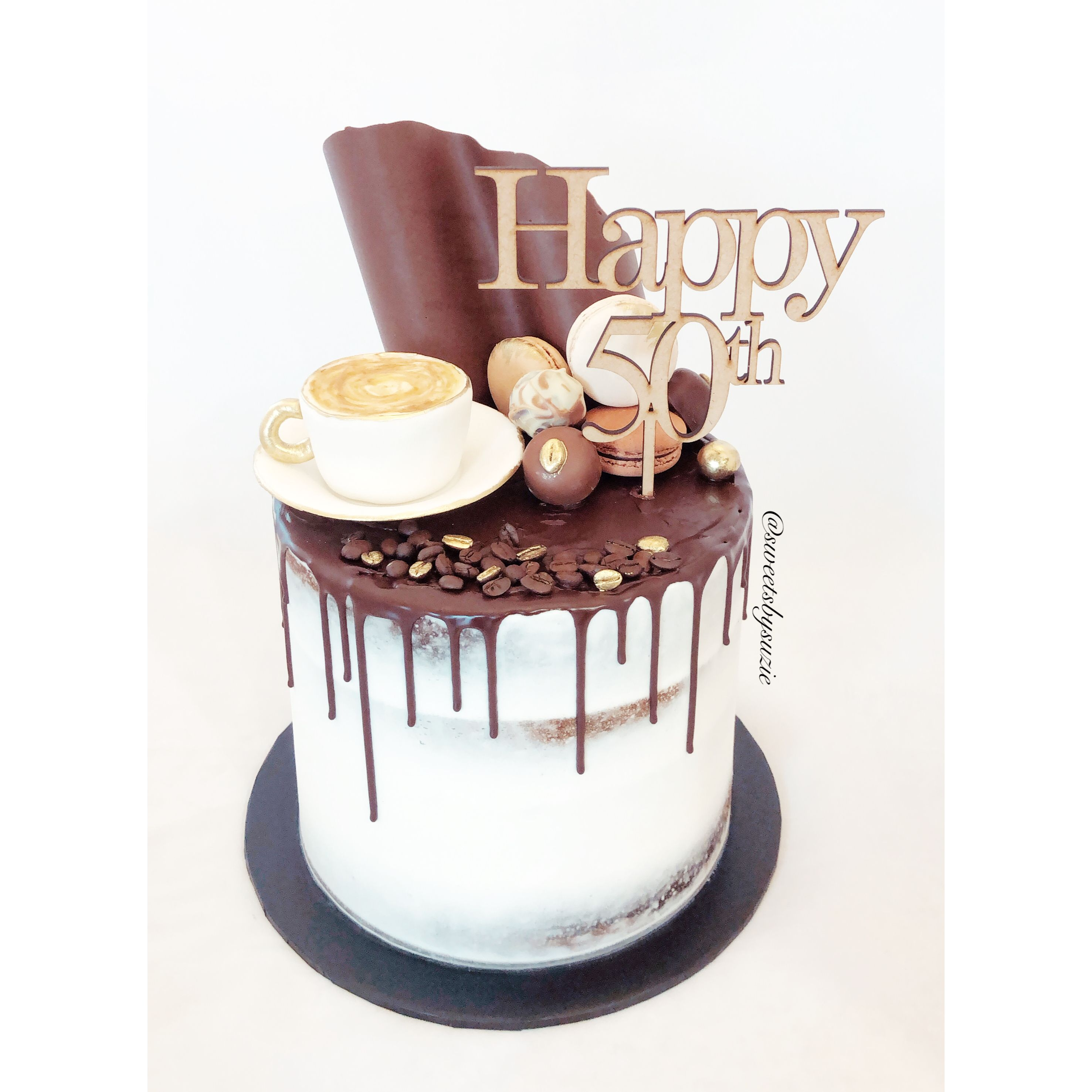 Sensational Coffee And Chocolate Drip 50Th Birthday Cake Made By Sweetsbysuzie Funny Birthday Cards Online Elaedamsfinfo