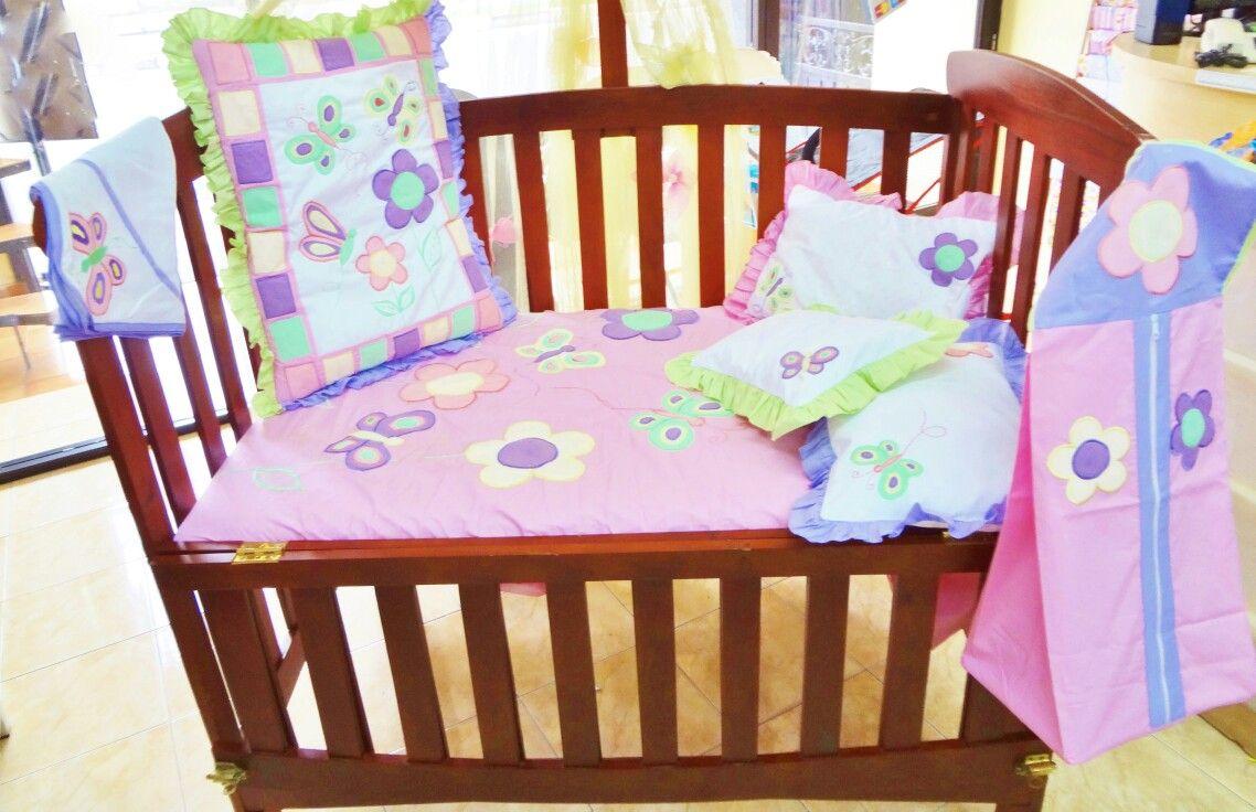 Pastel #butterfly #flower #cribbedding #cotsheet 1250 #handquilt
