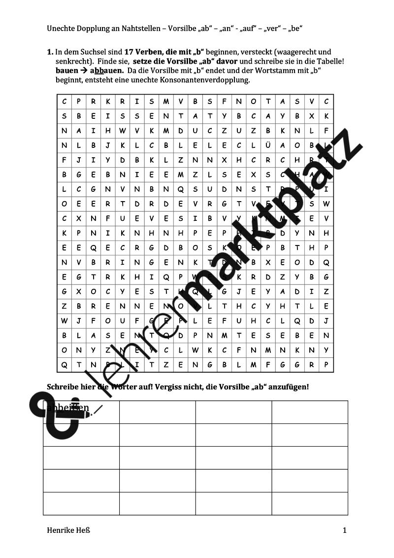 Dopplung - unechte Dopplung an Nahtstellen nach Vorsilben - Rätselblätter – Deutsch, D.a.F. / D.a.Z.