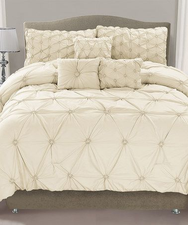 Another great find on #zulily! Ivory Cosmo Smocked Comforter Set #zulilyfinds