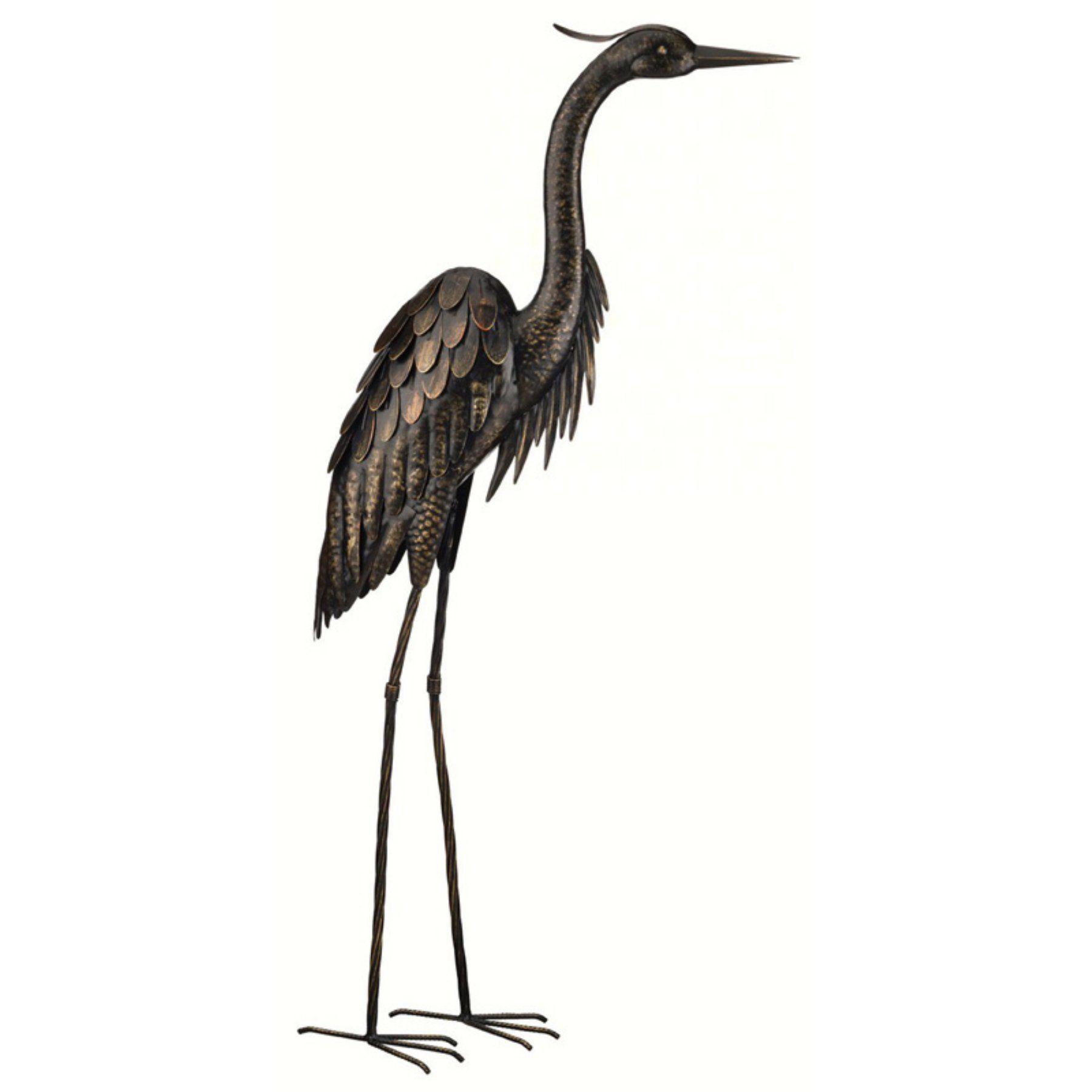 Beautiful Regal Art And Gift 45 In. Bronze Heron Decor   REGAL10867