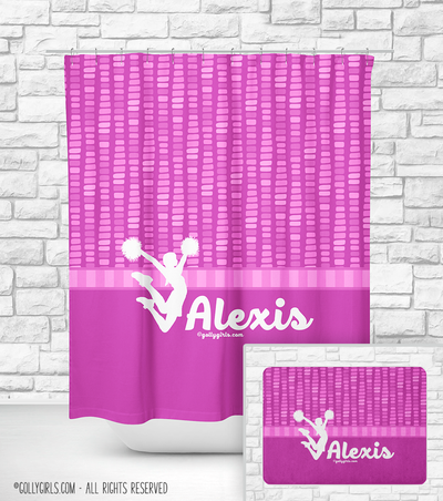 Personalized Cheer Pink Dot Stripes Shower Curtain Striped