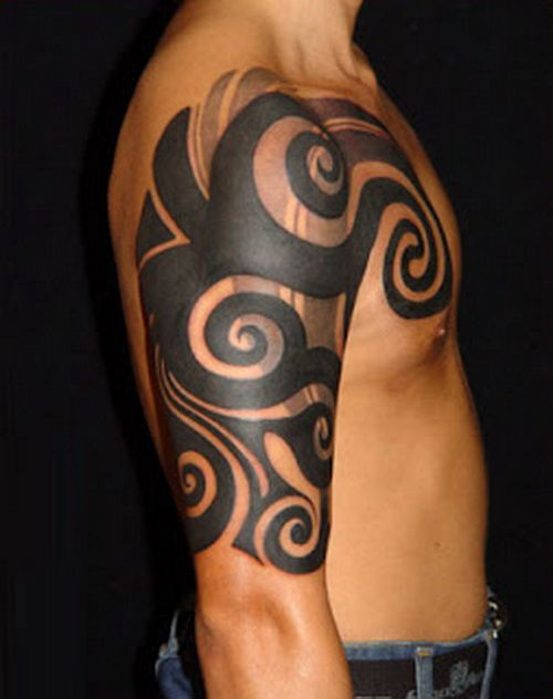 Awesome Photo Of Tribal Men Tattoo Design For Half Sleeve Tattoo ...