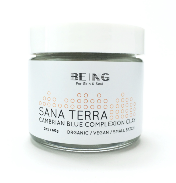 Sana Terra Complexion Clay - From the lakes of Siberia, Cambrian blue clay's incredible rarity is matched by its healing prowess, detoxifying muted skin and combined with anti-aging essential oil of helichrysum to restore balance to the complexion for a radiant, healthy finish.  Use:  Combine 2x clay with 1x water to create a paste. Apply to cleansed skin in a thin layer and relax while allowing it to dry. Rinse with water to remove.