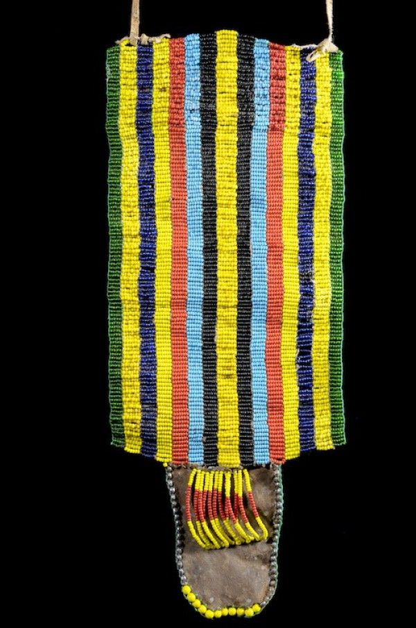 Africa | Apron (cache sexe) from the Bana people of Ethiopia | Leather with glass beads | Late 20th century