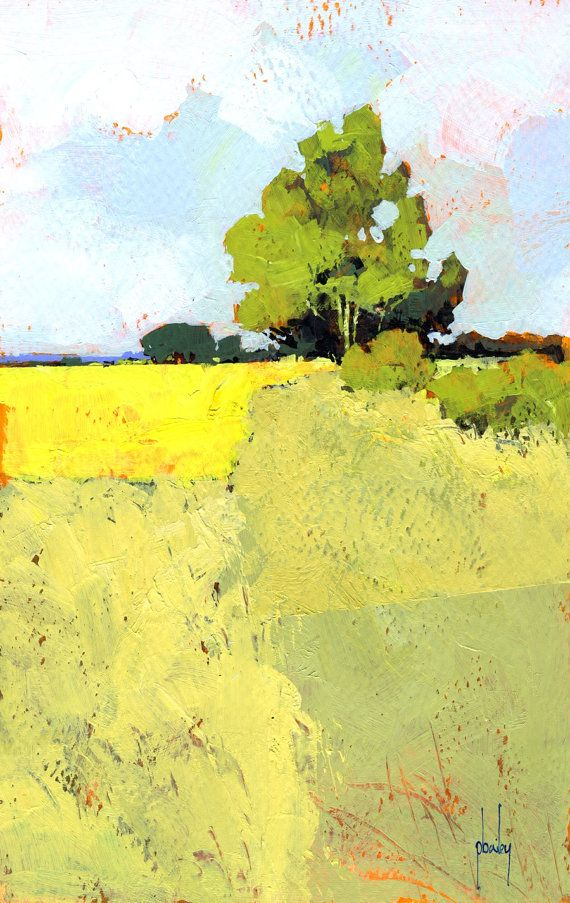 Semiabstract Landscape Original Painting On The By