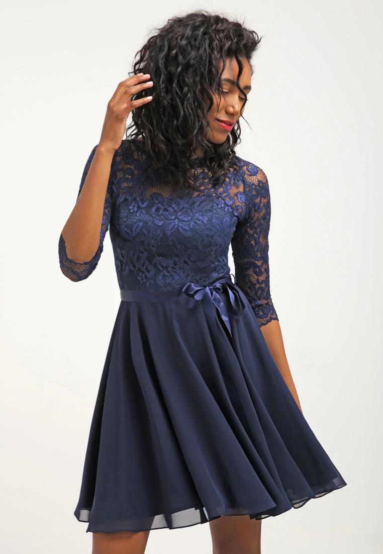 Swing Cocktailkjole Dark Blue Morkebla Zalando No Confirmation Dresses Homecoming Dresses Short Cheap Chiffon Dress Short [ png ]