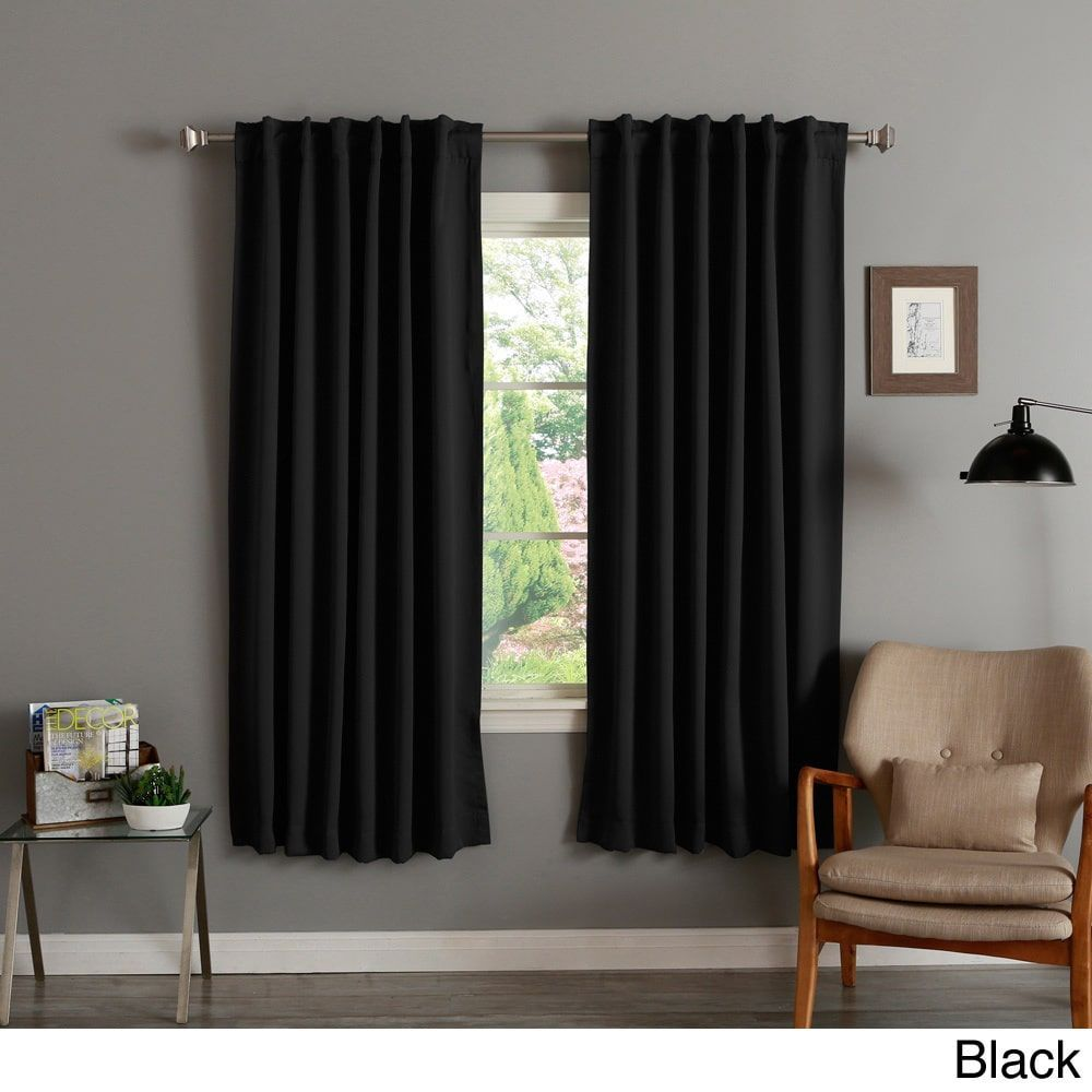 Cobalt blue curtain panels - Aurora Home Insulated 72 Inch Thermal Blackout Curtain Panel Pair Black Size
