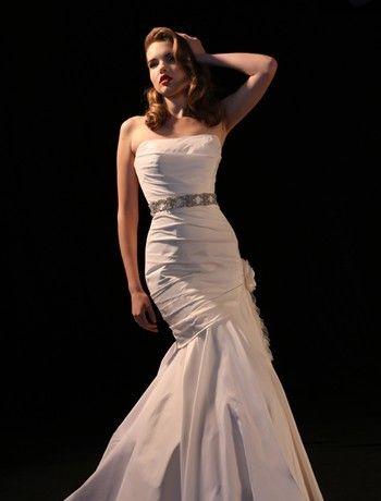 Michelle Roth Mermaid Wedding Dress with Strapless Neckline and Asymmetric Waist Waistline