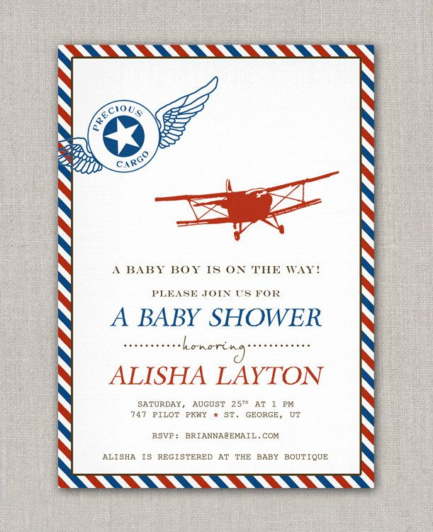 Precious Cargo Vintage Airplane Baby Shower Invitation 15 00 Via Etsy
