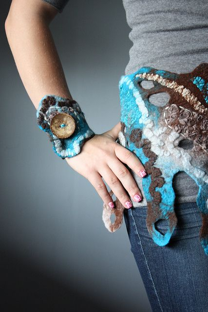 Felted Wool Bangle Bracelet Blue Wrapped Yarn Wet Needle Felted Wearable Fiber Art