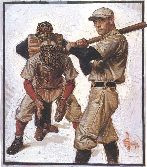 Norman Rockwell Baseball | BaseballSceneOfBatterCatcher&Umpire-byJ.C.Leyendecker-1915