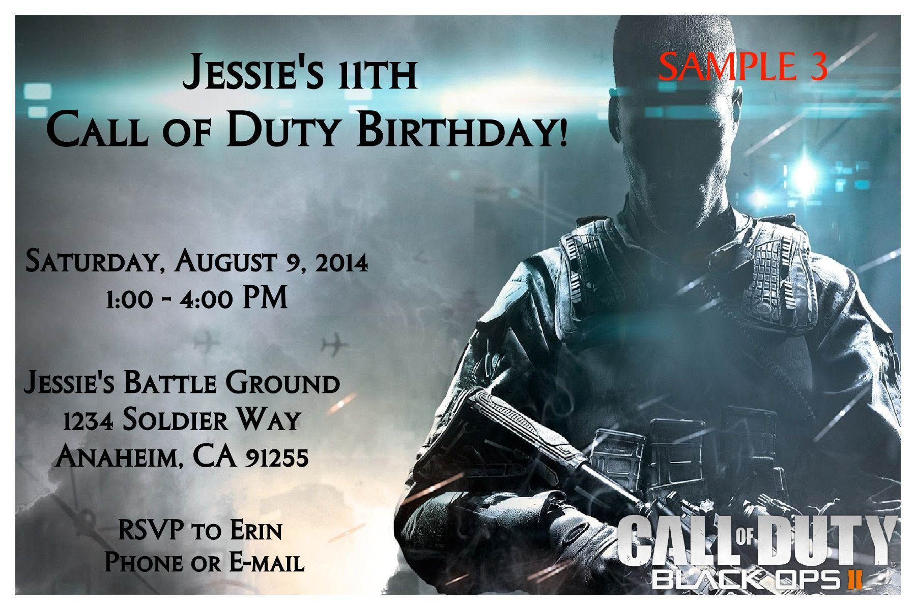 Enchanting Call Of Duty Birthday Invitations Illustration