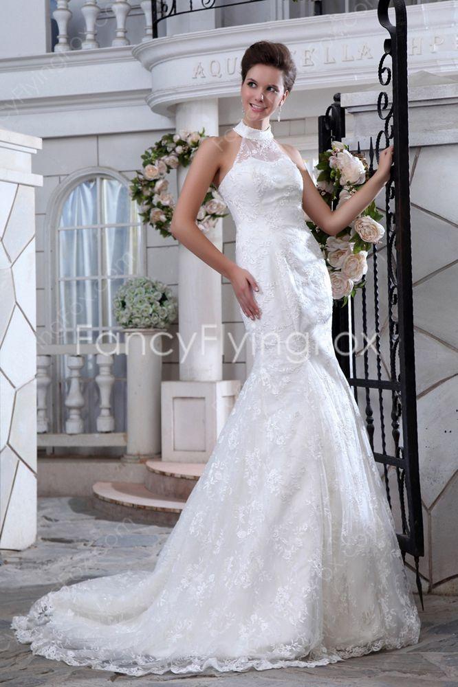 Fairytale Halter Neckline High Collar Trumpet Mermaid Lace ...