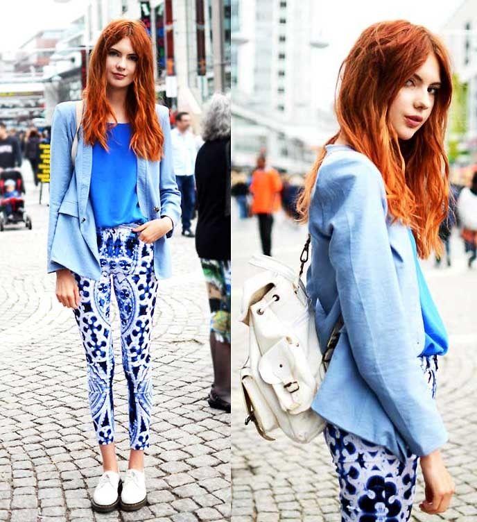 Street Snap: Blue Topcoat and tshirt, Printed Pants