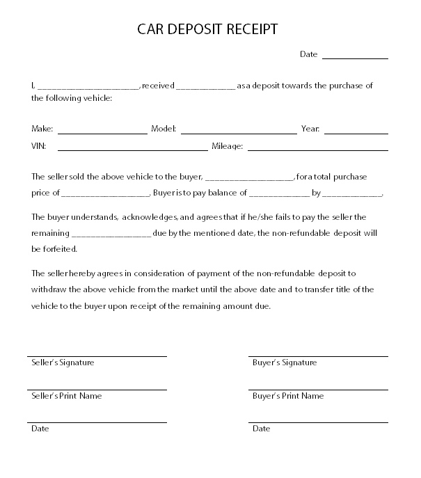 car deposit contract template car deposit receipt car agreement pinterest cars