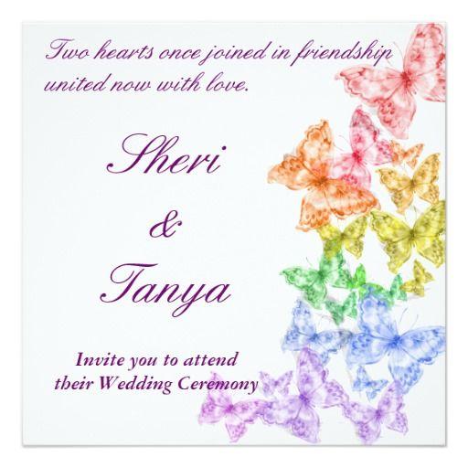 Gay Lesbian Rainbow Wedding Ceremony Invitation Wedding