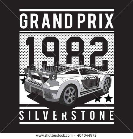 Racing sport Silverstone typography, t-shirt graphics, vectors - stock vector