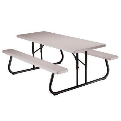 Lifetime 6 Ft Putty Folding Picnic Table 22119 The Home Depot Folding Picnic Table Picnic Table Lifetime Tables