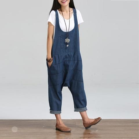 e6ac25c5892e 2018 Summer Autumn Dungaree Rompers Womens Jumpsuits Vintage Sleeveless  Backless Casual Loose Solid Overalls Strapless Playsuits