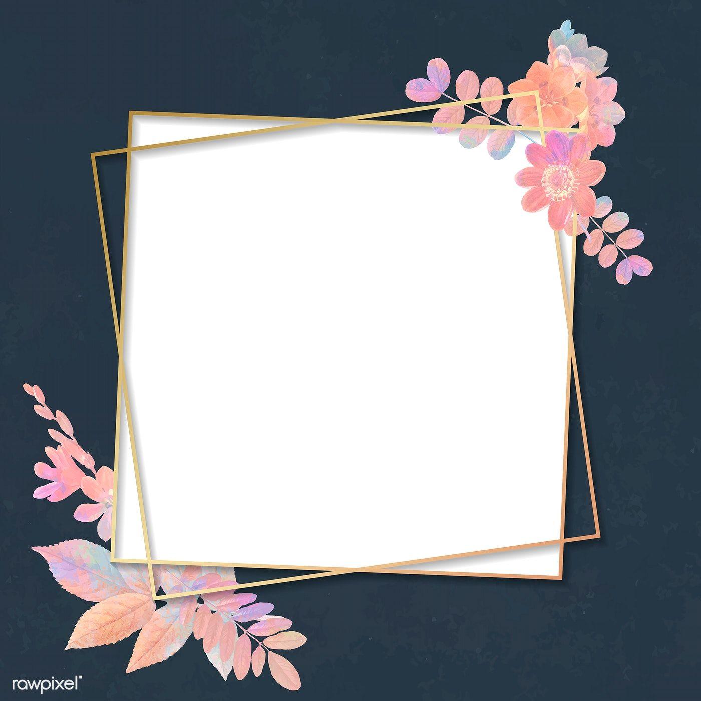 Download Premium Vector Of Blank Floral Square Frame Vector 1209721 Flower Background Iphone Floral Squares Flower Illustration