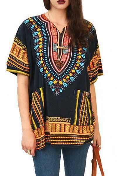 Ethnic Print V Neck Short Sleeves Dress - http://www.musteredlady.com/ethnic-print-v-neck-short-sleeves-dress/  .. http://goo.gl/uo55Rl |  MusteredLady.com