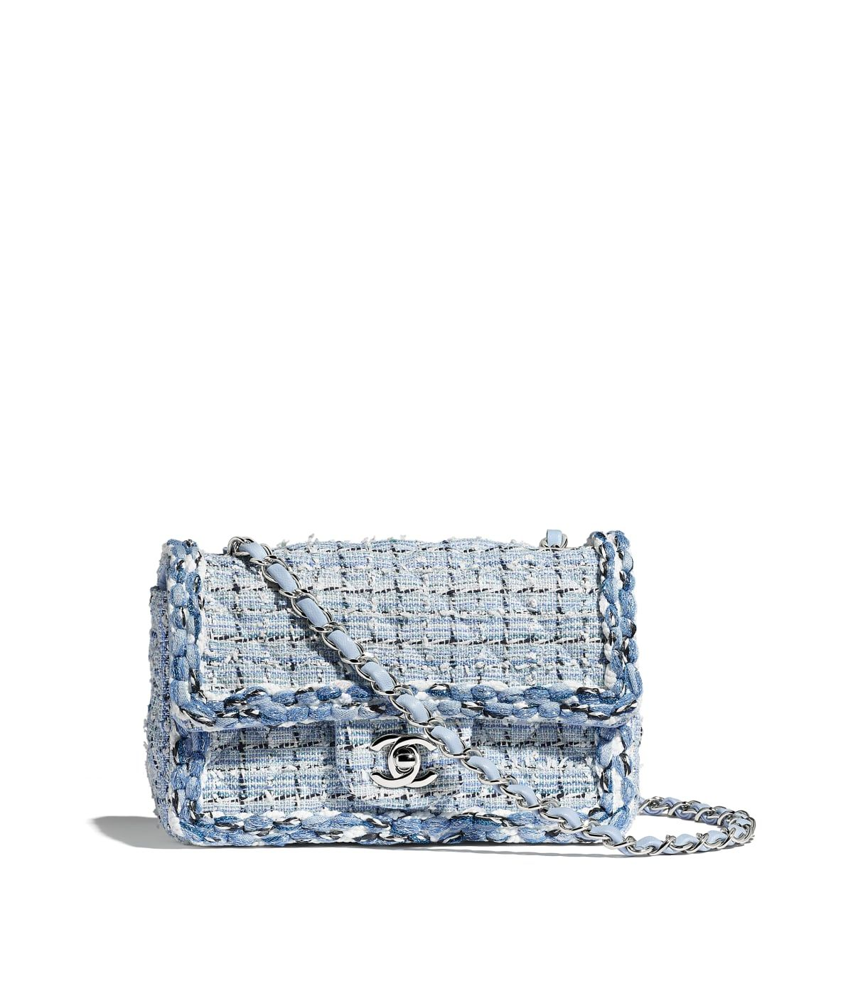 25c52c7a9b8a Handbags of the Cruise 2018/19 CHANEL Fashion collection : Mini Flap Bag,  tweed, braid & silver-tone metal., blue & white. on the CHANEL official  website.