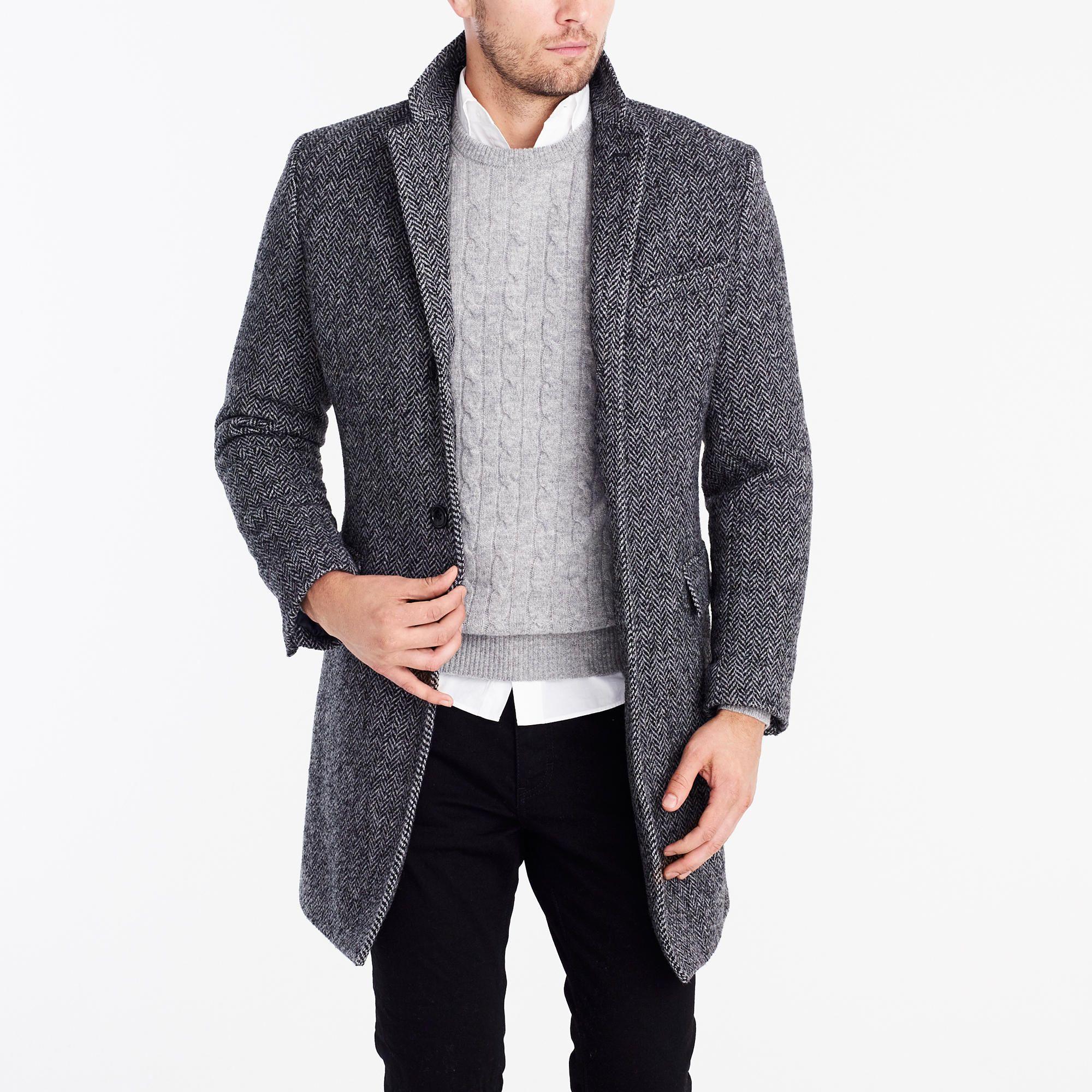 Herringbone Top Coat Jackets Men Fashion Grey Coat Mens Mens Outfits [ 2000 x 2000 Pixel ]
